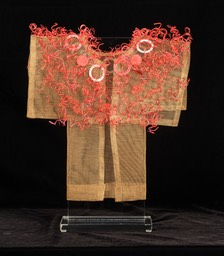 Flame Kimono, bronze screen embellished with found items & recycled telephone wire.