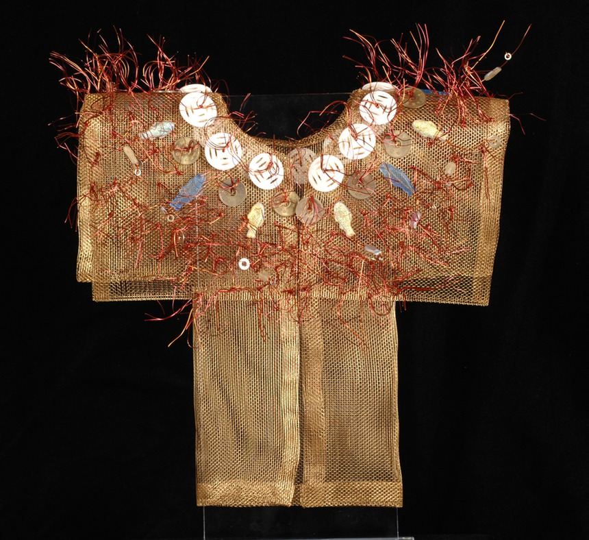 Kyoto Kimono, bronze screen embellished with found items.