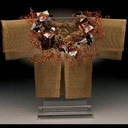 Saturday Child Kimono, bronze screen embellished with found items.