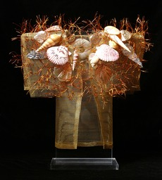 Seashell Kimono, bronze screen embellished with found items.
